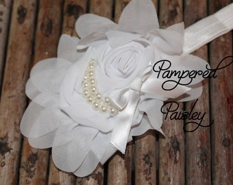 Baby Headband, Shabby Headband,  White Headband, Stretch Headband, Infant Headband, Wedding Headband, skinny Headband, Flower Headband