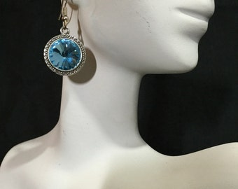 Aquamarine Earrings, Birthstone Earrings, March Birthstone, Swarovski Earrings, Rivoli Earrings