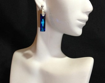Swarovski Crystal Bermuda Blue Earrings, Blue Crystal Earrings, Blue Baguette Earrings, Dangle Earrings