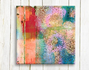 Rainbow colors abstract printed on canvas - housewarming gift idea