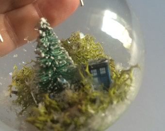 Doctor Who inspired Tardis in the winter woods, geek christmas ornament