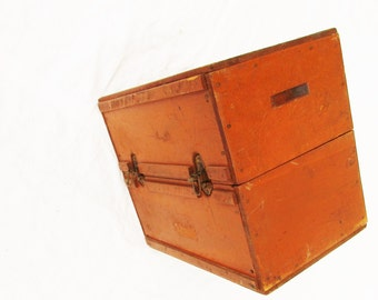 A Large Wood Box - Split Half Box With Hinge Clasps - All Wood Heavy Duty - Stand On It - Sit on It - Store Stuff In It