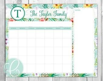 Printable 16x20 Dry Erase Calendar - Tropical Print
