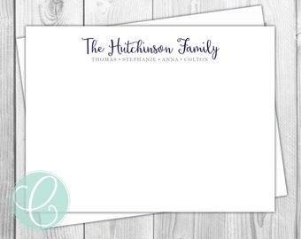 Family Stationery Flat Note Cards - Family Script - Set of 12 - Family Stationery - Modern - Minimalist - Names - Kids