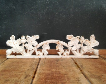 Antique Cast Iron Fence Piece, Architectural Salvage, Vintage Iron Fence Topper with Oak Leaves and Acorns, White Paint, Up To 9 Available