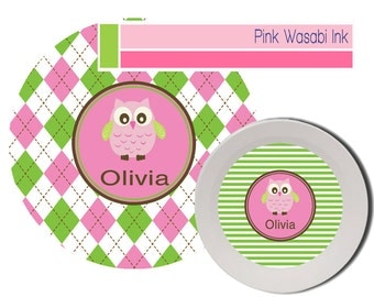 Personalized Plate and Bowl Set Kids Melamine Dishes Owl Dinnerware Girls Plate Bowl Set