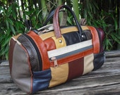 Patchwork Leather Vintage Handbag Purse Shoulder Bag Small Duffle Made In Mexico