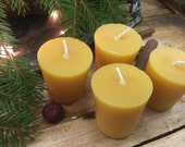 Beeswax Flat Top Votives Set of 4  -  Pure Beeswax Candles directly from the Beekeeper