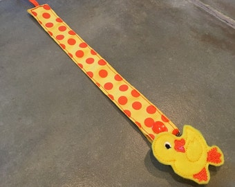 Pacifier Leash Paci Leash - Yellow with Orange Dots Ribbon