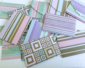 Colorful set of Mini Cards - Tent style - Blank - Matching envelopes - Geometrical shapes - Stripes - Squares - Handmade - Wcards