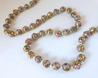 Reserved for MissBelair : Final Paymeng for Vintage 1960's Chinese Cloisonne Gold Enamel Floral Beaded Necklace