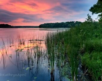Chain O Lakes State Park Sunset, Landscape Photograph, Turner Lake, 5x7 8x12 16x23.5 metallic paper metal print vivid metal