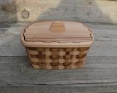 Napkin holder basket with lid Japanese chestnut wood