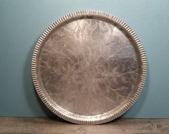 Round Aluminum Tray - Flower Design