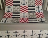 Quilt, Anchor Navy, Gray, Red, Chevron Crib Blanket , Nautical