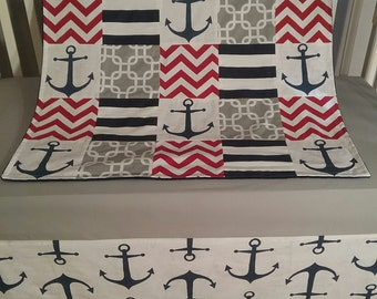 Quilt, Anchor Navy, Gray, Red, Chevron Crib Blanket , Nautical