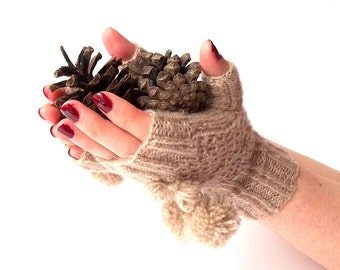 Knit Fingerless Gloves. Knit Beige Gloves with Pompons. Short Gloves. Knitted Wrist Warmers. Knit Arm Warmers. Women Gloves. Hand Knit.
