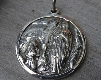 Our Lady Of Lourdes Blessed Virgin Mary and Saint Bernadette. Silver 900 medal.