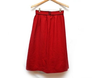 """80s Wool Maroon Mid Length Pleated Skirt Red Cute Womens 28"""" Small"""