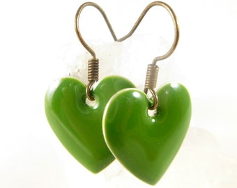 Cute Green Heart Dangle Minimalist Earrings ~ 2016 Handmade Trending Womens Jewelry Gifts for Her