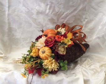 Cornucopia Centerpiece Thanksgiving Centerpiece Holiday Table Decor (Medium)