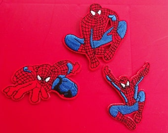 Set of 3 Spiderman Patches. Embroidered Patch. Iron On Sew On Appliques. Superhero. Cartoon. Upcycle. Cosplay.