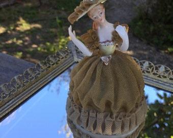 Antique Dresdon lace porcelain figurine, woman, cottage chic decor, 1940's era