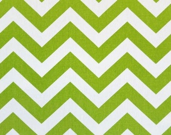 Chartreuse and White Chevron Cotton Fabric - Drapery Fabric - Heavy Cotton Fabric - Lime Green and White Zig Zag- Fabric by the Yard
