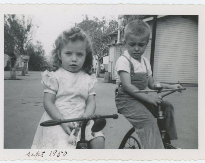 Boy & Girl on Tricycles, Sept. 1950 Vintage Snapshot Photo [71480]