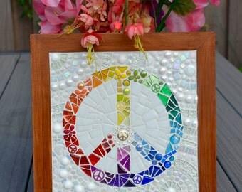 Rainbow peace sign mosaic wall hanging