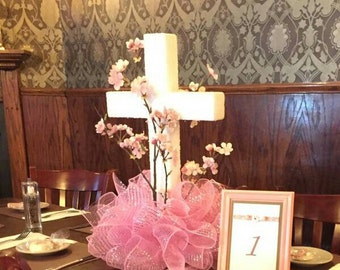 Religious Cross Centerpiece in Pink