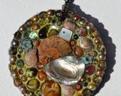 Mosaic, Ammonite & shell, beaded necklace