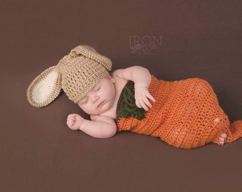 Newborn Easter Photo Prop Cocoon - Bunny Beanie and Carrot Sleep Sack - Baby Gift