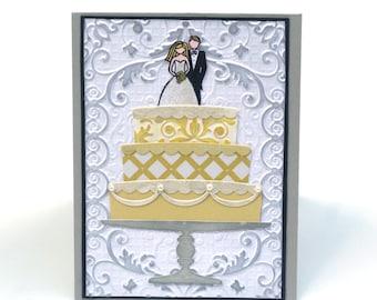 Wedding Cake card, wedding Congratulations card, bride and groom, happy wedding, engagement
