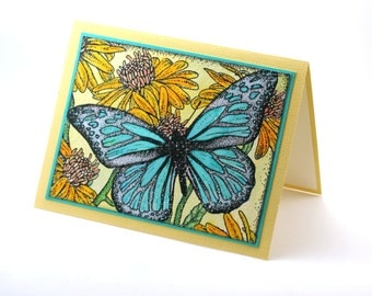 Butterfly garden blank card, daisy flowers, turquoise blue butterfly wings, floral cards