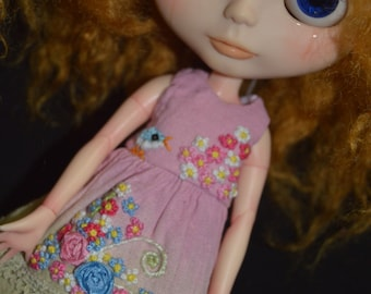 Dress hand dyed and embroidery handmade for Neo Blythe/Pullip doll