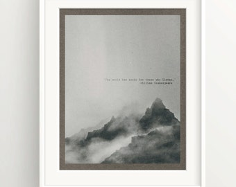 """Shakespeare Print - Quote """"The world has music fo those who listen"""" - Watercolor Mountain - Wall Art Print"""