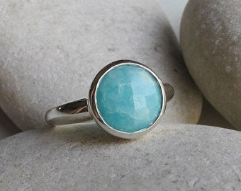 SALE Round Amazonite Ring- Blue Ring- Promise Ring- Something Blue- Stack Ring- Blue Gemstone Ring- Blue Stone Ring- Anniversary Ring