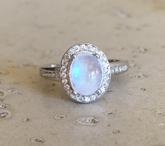 Oval Halo Moonstone Ring Smooth Gemstone Promise Ring By