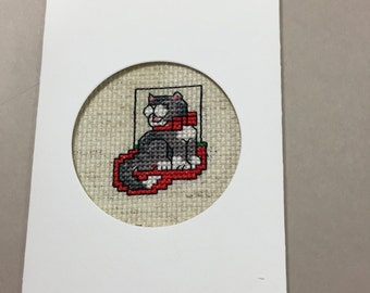 Cross stitch christmas card with cat