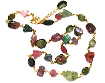 Watermelon Tourmaline Necklace Watermelon Slice Rainbow Necklace Tourmaline Jewelry Bright Necklace Tourmaline Jewelry Fizz Candy