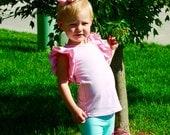 Light Pink Flutter Sleeve Shirt-monogrammed flutter- m2m sew sassy