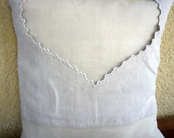 Linen cushion with top of old shirt,