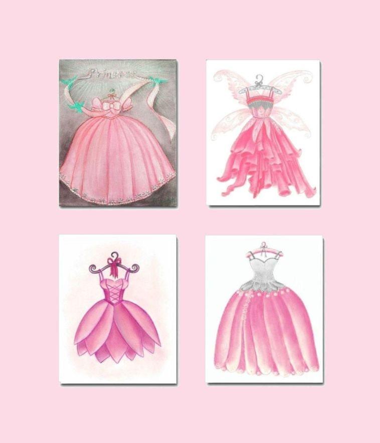 Princess Bedroom Wall Decor : Girls room decor princess dress wall art baby girl by
