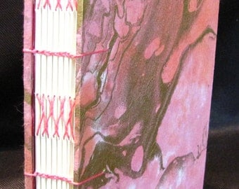 Pink and Gold Marble Journal Coptic/Herringbone Binding
