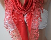 Christmas Gift Holiday Gift For Her Coral Scarf Shawl Triangle Lace Scarf Scarves Fall Winter Women Gift For Her Mom Gift Cyber Monday