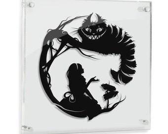 Alice in Wonderland // Cheshire Cat - hand cut paper art // fantasy storybook disney wall artwork silhouette paper illustration