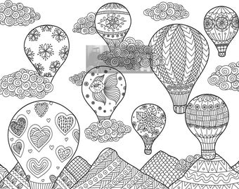 Fun detailed Hot air balloons printable adult coloring page instant download