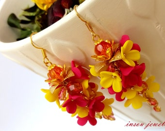 Flower Earrings, Dangle Earrings, Statement Earrings, Hot Pink Earrings, Yellow Earrings, Handmade Earrings, Gift For Her, Bridesmaid Gift