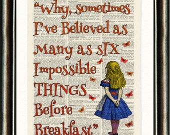 Alice in Wonderland Quote 3 Orange Upcycled vintage book page print on a late 1800s Dictionary page Buy 3 get 1 FREE